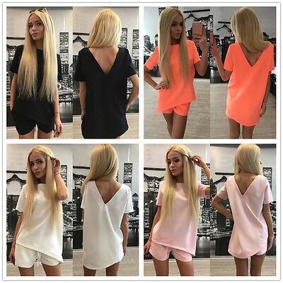 2PCS Summer Fashion Women Outfit Blouses Top+Shorts Party Clothes set
