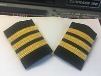 Airlines 1st Officer Epaulets Sliders 3 Bars On Black By World Pilot Supplies