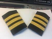 Airlines 1st Officer Epaulets Sliders 3 Bars On Black By World Pilot Supplies