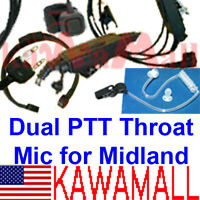 Dual PTT Throat mic for Midland GXT LXT GMRS FRS Radio