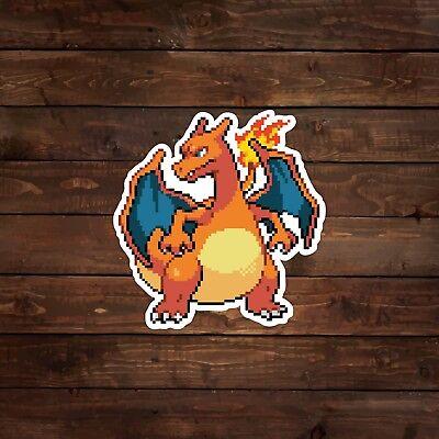 Charizard 8 Bit Pokemon Sticker Anime Action Pose Vinyl Sticker Decal