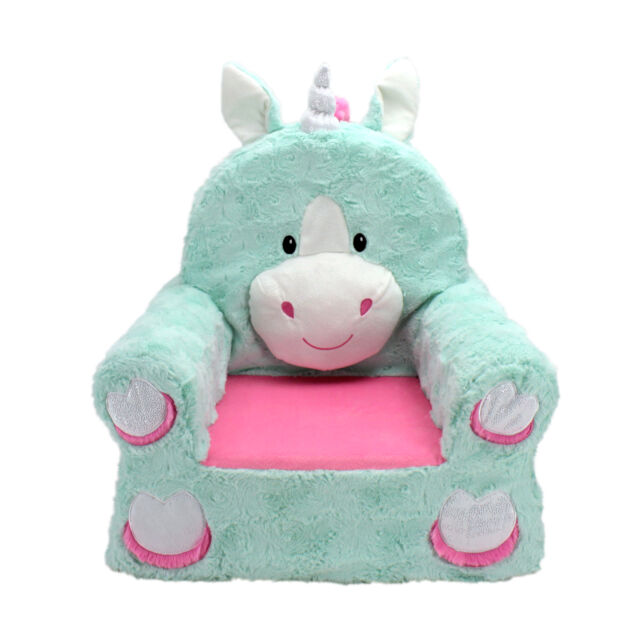 Enjoyable Sweet Seats Adorable Teal Unicorn Childrens Chair With Removable Cover Caraccident5 Cool Chair Designs And Ideas Caraccident5Info