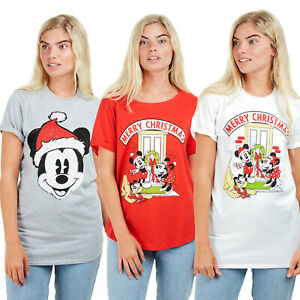 Disney-Christmas-Mickey-Mouse-Santa-Gift-Ladies-T-shirts-Sizes-S-XL