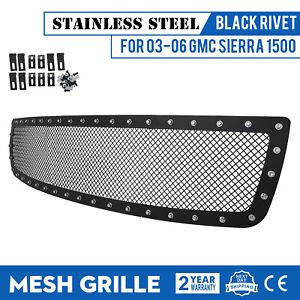 Rivet-Mesh-Grille-For-2003-2006-GMC-Sierra-1500-Stainless-Steel-Black-Kit-Insert