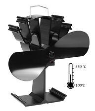 Mitsuru® Ofenventilator ohne strom für Holzofen Kamin, 2 Blätter (schwarz)