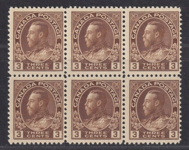 Canada Scott 108 1918 MNH 3¢ Brown King George V Admiral Block of 6 SCV $420