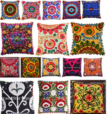 """Vintage Embroidered Pillow Cases Suzani Cushion Cover Square 16"""" Handmade Pillow"""