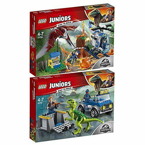Lego Juniors Dino Jurassic World Lot x2 10757 10756 Raptor BRAND NEW AUTHENTIC