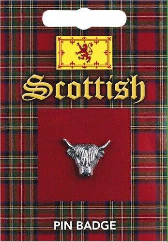 Scottish Highland Cow Head Pewter Lapel Pin Badge