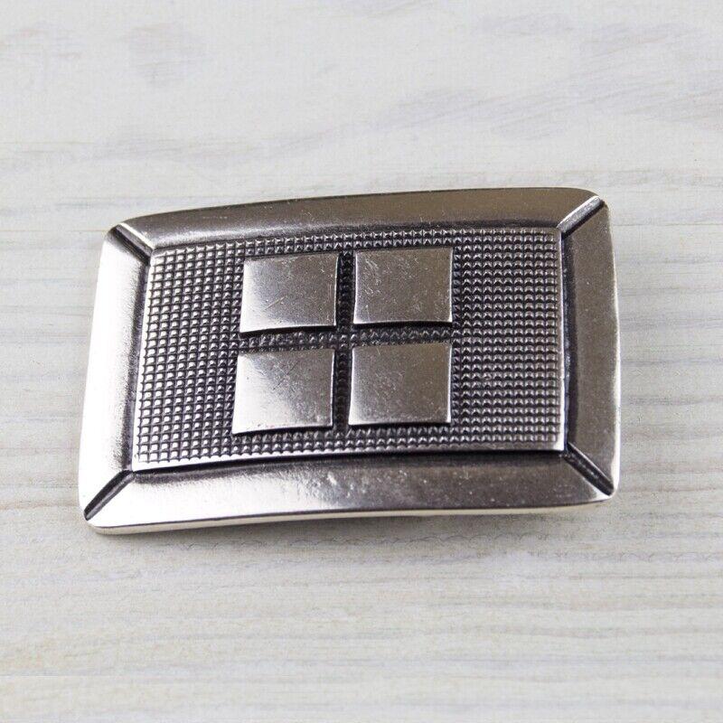 Biker Rechteck Geometrie Gürtelschnalle Silber Wechselschließe GS5579