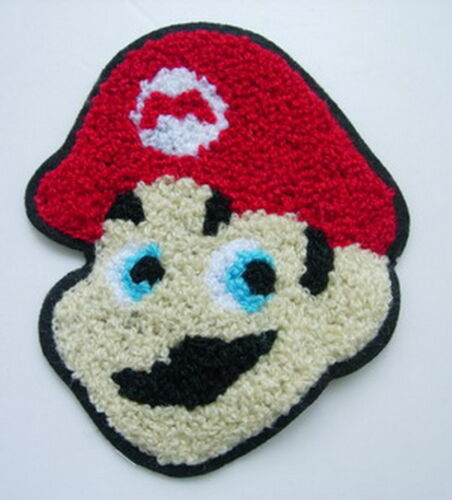 PC138 Super Mario Head Furry Embroidered Patch Applique Sew On Dress//Cap//Bag