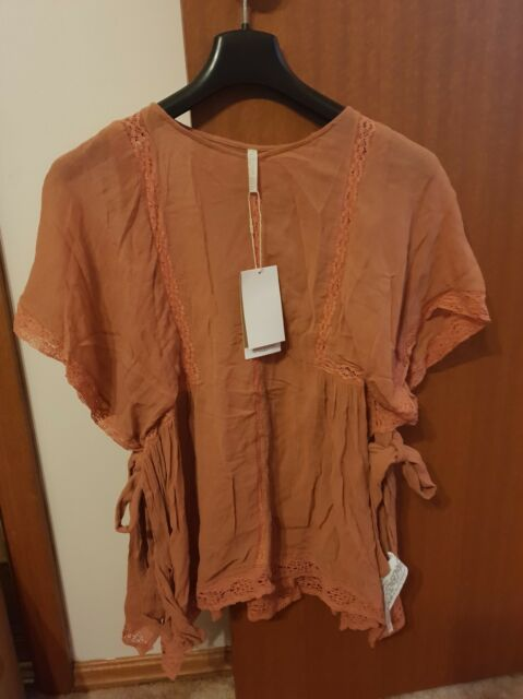 Zara Trafaluc Collection Ladies Terracotta Summer Boho Beach Top Size M New