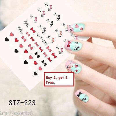 Nail Art Water Transfers Stickers Decals Hello Kitty Hearts Bows Gel Polish 223 Ebay