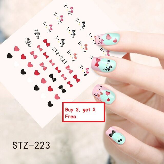 Nail Art Water Transfers Stickers Decals Hello Kitty Hearts Bows Gel