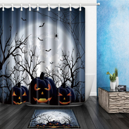 Halloween pattern Waterproof Polyester Fabric Shower Curtain Bathroom Mat Set