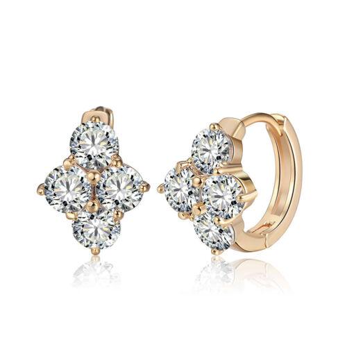Fashion Women/'s Zircon Cristal Stud Hoop CALIN Boucles d/'oreilles Parti plaqué or bijoux
