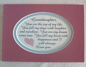 Details about GRANDDAUGHTER Heart JOY Girls LAUGHTER HAPPY Dream CHILDREN  verses poems plaques