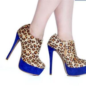 comprar online 96d44 e9dcf Detalles acerca de Patrón de leopardo para mujer Bomba De Plataforma  Stilettos Tacón Alto Zapatos De Sz36-45 cena- mostrar título original