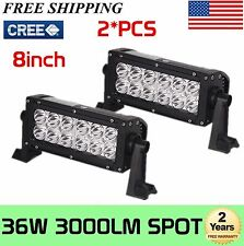 2X 8INCH 36W CREE LED WORK LIGHT BAR SPOT OFFROAD LAMP 4WD BOAT ATV DRIVING