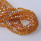 500pcs 4x3mm Rondelle Faceted Crystal Glass Loose Beads Amber Half AB