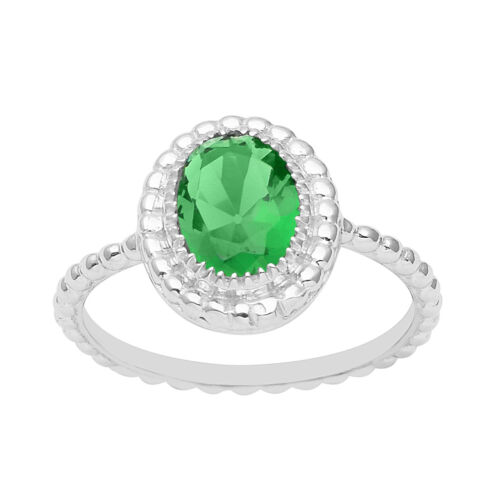 Solitaire Ring Solid 925 Sterling Silver Natural Gemstone Braided Stack Ring