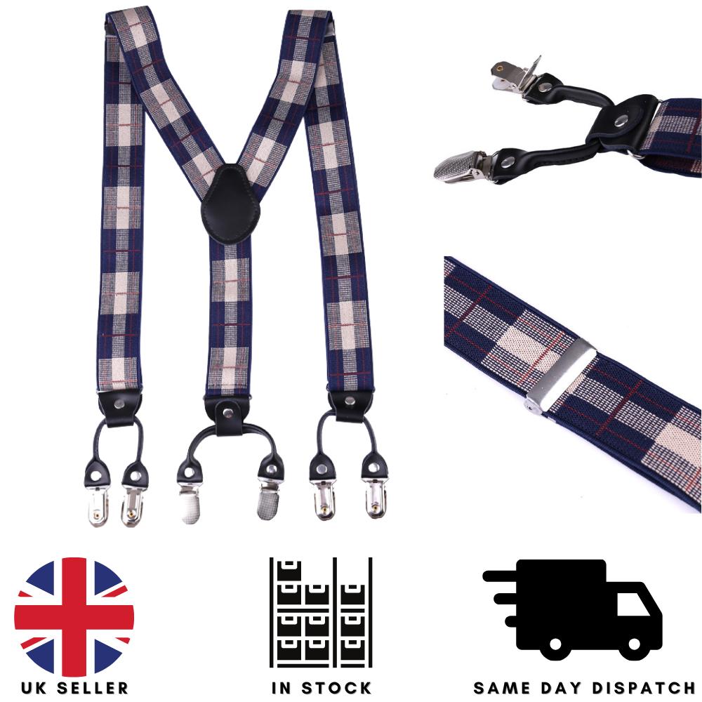 35mm Adjustable Mens Braces Highly Elastic Suspenders Heavy Duty Trouser Style