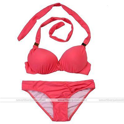 Red Lady Bandage Padded Halter Strap Push-Up Bra Bikini Swimsuit Swimwear