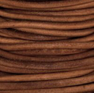 Natural Light Brown - Premium Natural Dye Round Leather Cord