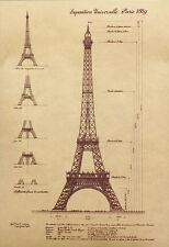 Poster Druck La Tour Eiffel Eifelturm Konstruktionszeichnung Paris NEU