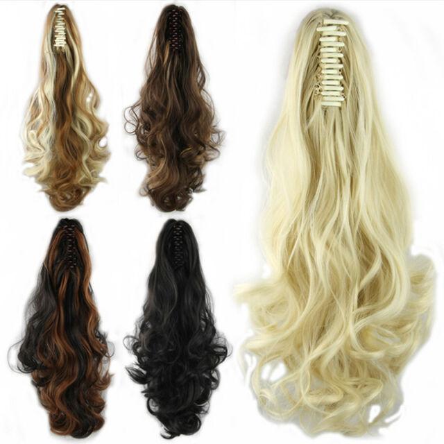 Femmes Extensions de Cheveux Ondulé Perruque Queue de Cheval Haute Clip In On