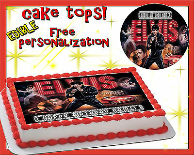 Cool Elvis Presley Happy Birthday Cake Edible Sugar Topper Sheet Paper Birthday Cards Printable Opercafe Filternl
