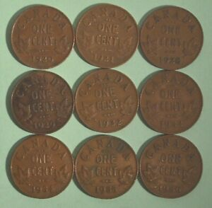NICE-STARTER-SET-OF-CANADA-KING-GEORGE-V-PENNIES-1920-1936-9-DIFFERENT-DATES