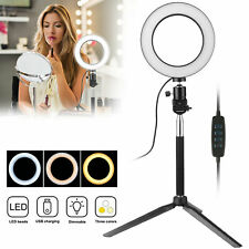 LED Selfie Ring Light w/Tripod Stand Dimmable For Phone Video Live Makeup Camera