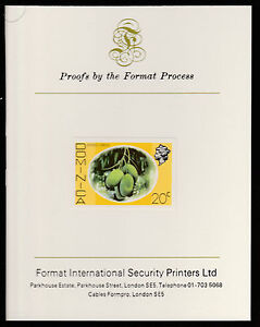 Dominica (406) 1975 Mango Longue 20c imperf on Format International PROOF CARD
