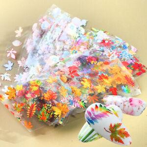 10-Pcs-20X4-cm-Autumn-Fall-Leaf-Leaves-Nail-Art-Foil-Transfer-Decal-Manicure