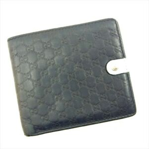 7d9703729516 Gucci Wallet Purse Guccissima Navy White Woman unisex Authentic Used ...
