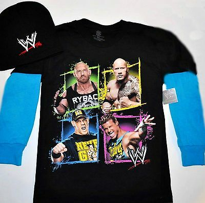 WWE Wrestling John Cena Orton T-Shirt 14-16 XL 18 20 XXL Child New w Beanie Hat