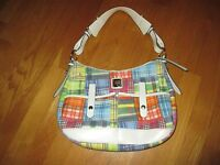 Authentic Dooney & Bourke Plaid Madras Picnic Ants Handbag Purse Shoulder Bag