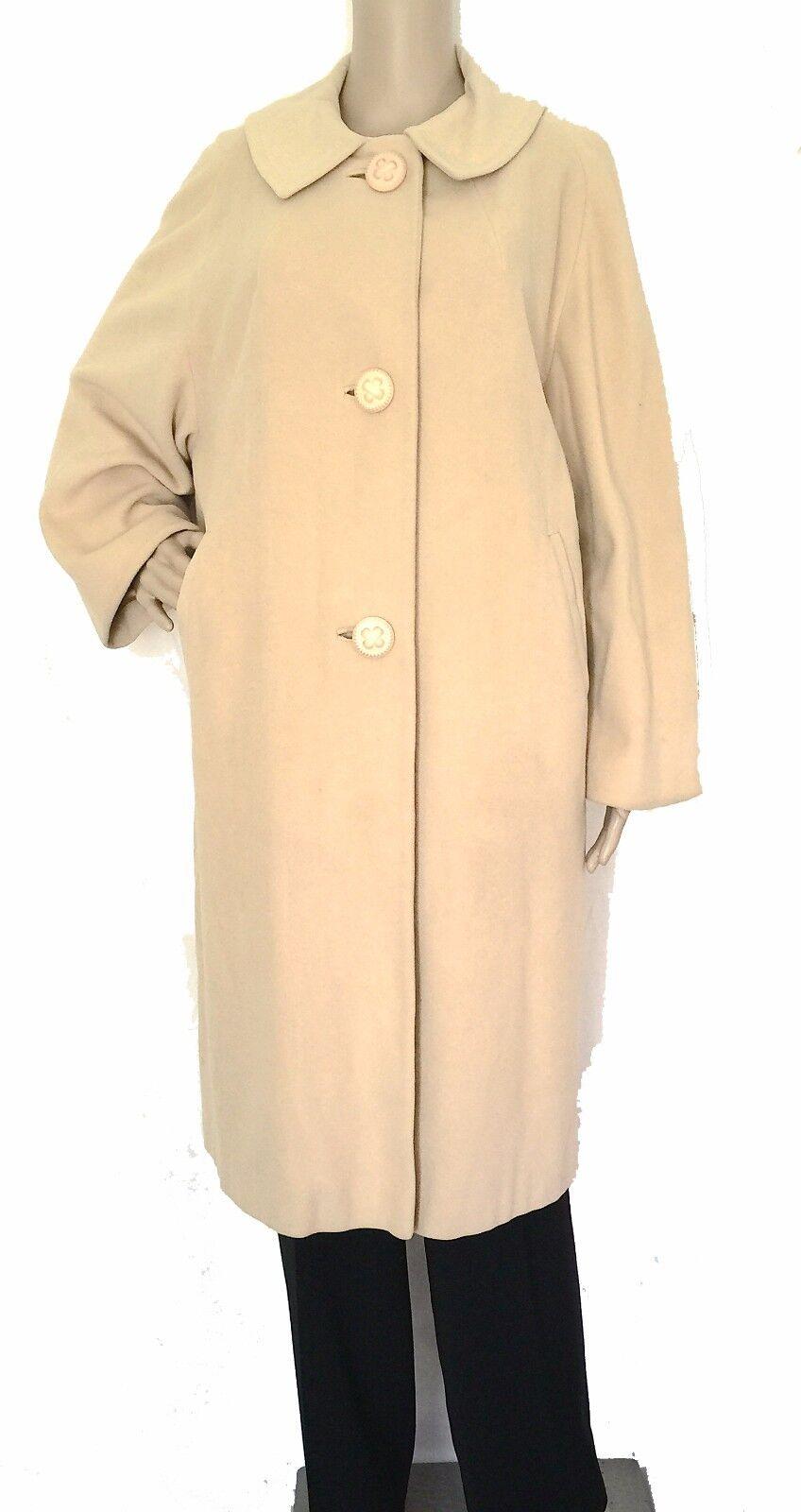 Vintage 50s 60s Camel Swing Coat 3 4 Length - Size L - EUC