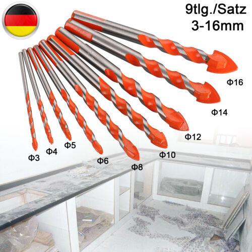 Glasbohrer Set 9-tlg Fliesenbohrer Keramikbohrer Bohrer Spiegel 3mm Bis 16mm