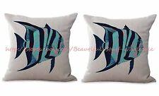 US SELLER-2pcs beach nautical fish cushion cover decorative cushion covers