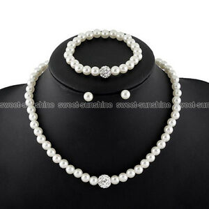 Image Is Loading Women Prom Wedding Bridal Jewelry Pearl Crystal Necklace