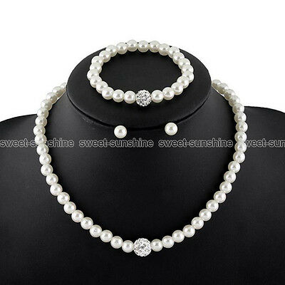 Women Prom Wedding Bridal Jewelry Pearl Crystal Necklace Earrings Bracelet Set