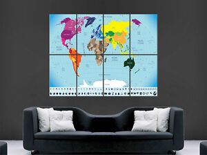 MAP OF THE WORLD MAP POSTER PRINT GIANT WALL ART CITIES COUNTRIES - World map poster with cities