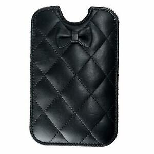 Red-Valentino-Women-039-s-Quilted-Leather-Bow-Decorated-Black-Pouch-Iphone-Case-5-5S