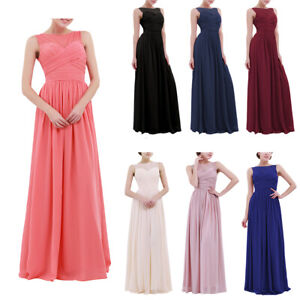Womens-Ladies-Chiffon-Lace-Prom-Party-Evening-Gown-Wedding-Bridesmaid-Long-Dress
