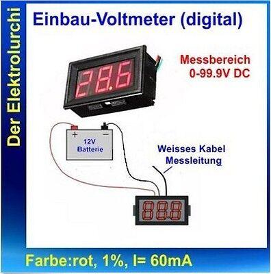 Ausdrucksvoll Digital Einbau Voltmeter Dc 0-99,9v Rot Led Spannungsmesser Z.b. Kfz Knitterfestigkeit
