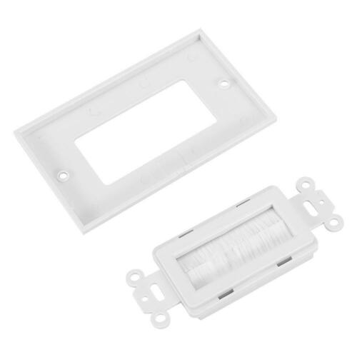 1 Gang Brush Wall Plate Port Insert Dual Cover Cable Outlet Mount Panel White