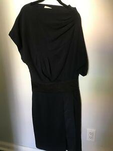 Bcbg Maxazria Black Asymmetrical Neck Dress Size 8 Ebay