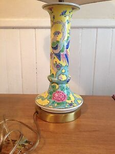 Vtg Asian Table Lamp Vase Hand Painted Raised Phoenix